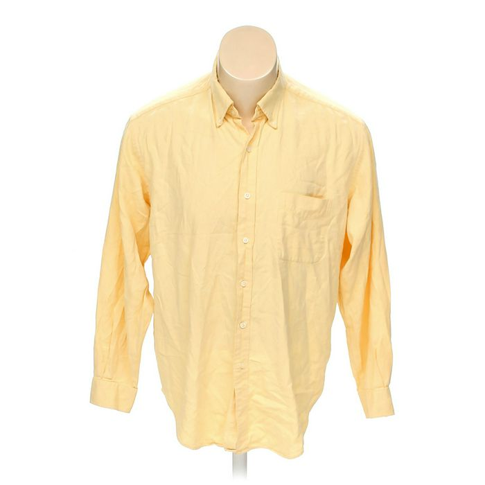 Yellow Austin Reed Solid Cotton Button Down Long Sleeve Shirt Size L At Up To 95 Off Swap Com